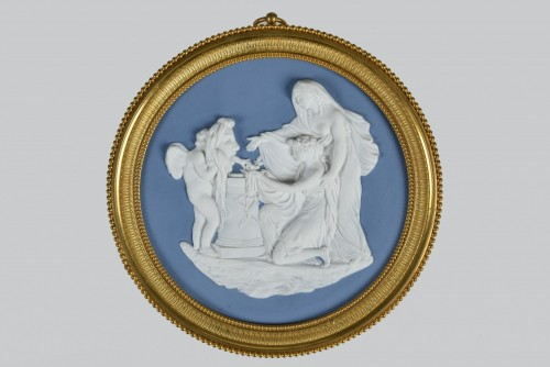 Important Empire Period Medaillon, Attributed To Manufacture De Nast, Paris - Porcelain & Faience Style Empire