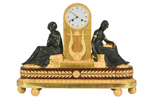 Gilt and Patinated Bronze Mantel Clock, Signed Claude Galle (1759 - 1815)