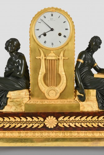 Gilt and Patinated Bronze Mantel Clock, Signed Claude Galle (1759-1815) -