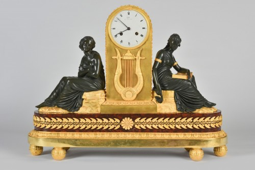 19th century - Gilt and Patinated Bronze Mantel Clock, Signed Claude Galle (1759-1815)