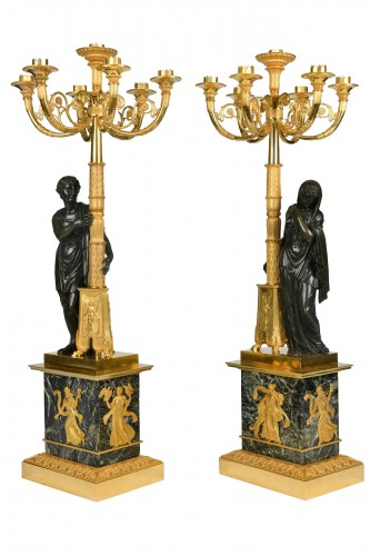 A pair of Empire Period, ormolu and patinated bronze candelabra attributed to Matelin (1759 - 1815)