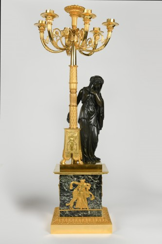 A pair of Empire Period, ormolu and patinated bronze candelabra attributed to Matelin (1759 - 1815) - Lighting Style Empire