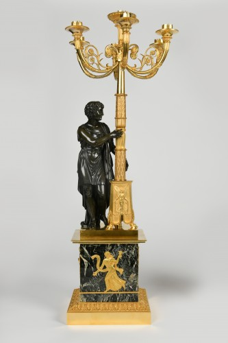 Lighting  - A pair of Empire Period, ormolu and patinated bronze candelabra attributed to Matelin (1759 - 1815)