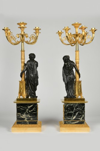 A pair of Empire Period, ormolu and patinated bronze candelabra attributed to Matelin (1759 - 1815) -
