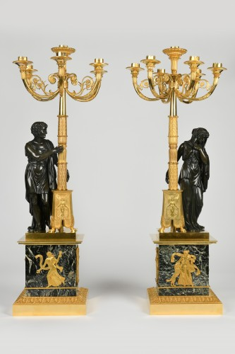 19th century - A pair of Empire Period, ormolu and patinated bronze candelabra attributed to Matelin (1759 - 1815)