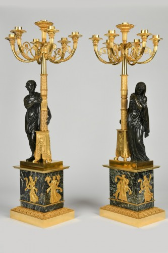 A pair of Empire Period, ormolu and patinated bronze candelabra attributed to Matelin (1759 - 1815) - Empire