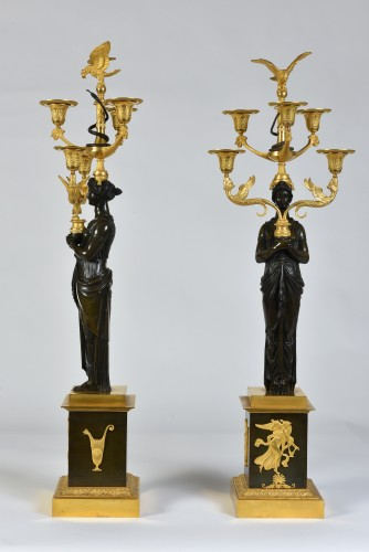 A pair of Empire Period, ormolu and patinated bronze candelabra - Lighting Style Empire