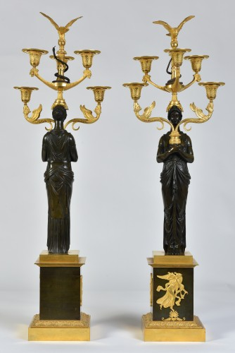 Lighting  - A pair of Empire Period, ormolu and patinated bronze candelabra