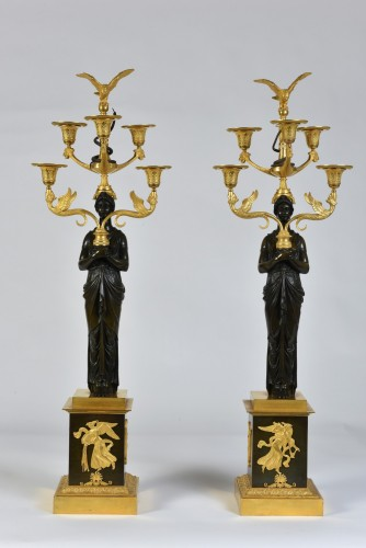 Antiquités - A pair of Empire Period, ormolu and patinated bronze candelabra