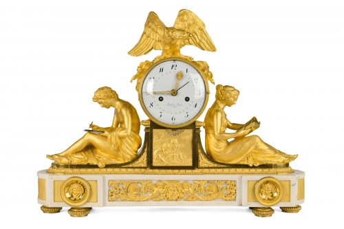 Important Ormoulu and white marble Mantel Clock  L'Etude and La Philosophie