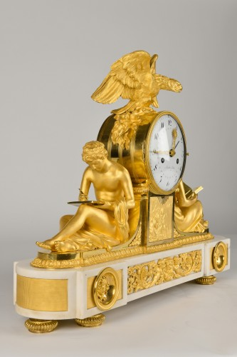 Important Ormoulu and white marble Mantel Clock  L'Etude and La Philosophie - Horology Style Directoire