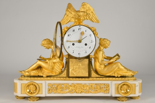 Horology  - Important Ormoulu and white marble Mantel Clock  L'Etude and La Philosophie
