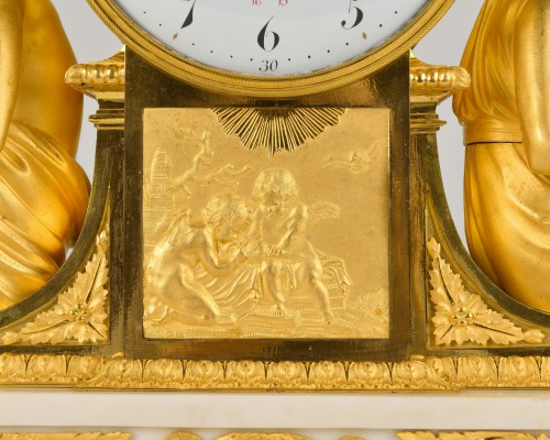 Important Ormoulu and white marble Mantel Clock  L'Etude and La Philosophie -