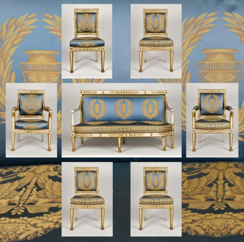 Important white and gold Empire period Salon - Seating Style Empire