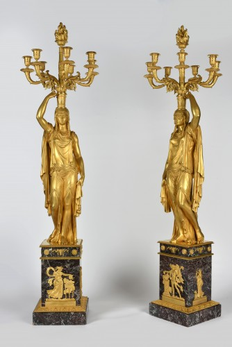 Very important pair of Ormoulu, Empire period candelabra, signed Thomire  -