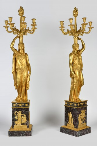 Very important pair of Ormoulu, Empire period candelabra, signed Thomire  - Empire