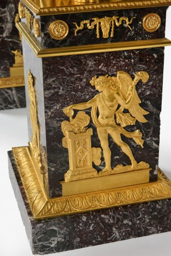Antiquités - Very important pair of Ormoulu, Empire period candelabra, signed Thomire