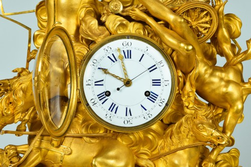 Important Consulat Ormoulu Mantel Clock, Depicting The Fall Of Phaeton - Horology Style Empire