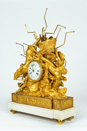Horology  - Important Consulat Ormoulu Mantel Clock, Depicting The Fall Of Phaeton