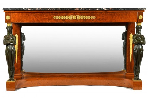 An Empire, Ormoulu and patinated bronze mounted mahogany console table