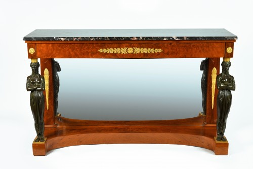 An Empire, Ormoulu and patinated bronze mounted mahogany console table  - Furniture Style Empire