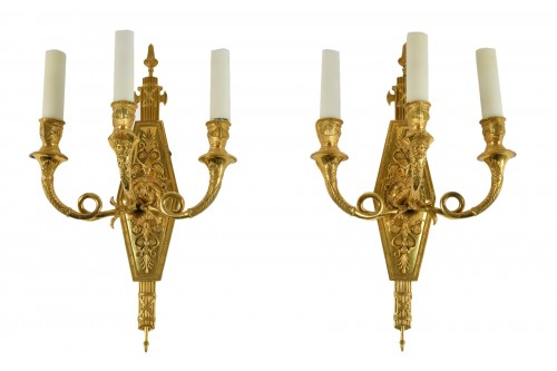 Pair of Ormoulu wall lights by Lucien-François Feuchère (1780-1828)