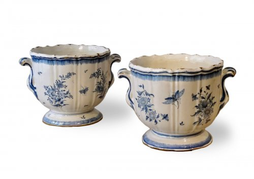 Pair of 18th century planters, Earthenware of Brussels