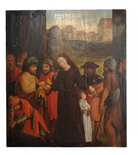 Oil on panel representing st. elizabeth of hungary 16th century