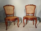 pair of louis xv chairs lyon walnut 18th century