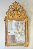 Large gilt wood mirror French Regence period