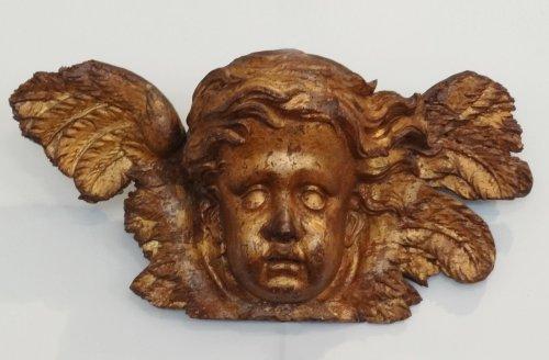 Head angel carved gilt wood