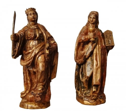 St. Catherine and St. Barbara carved and polychrome 17th century