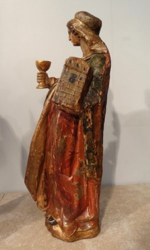 Sculpture  - St. Catherine and St. Barbara carved and polychrome 17th century