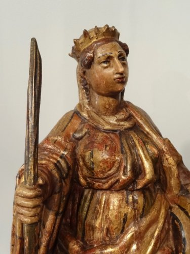 St. Catherine and St. Barbara carved and polychrome 17th century -