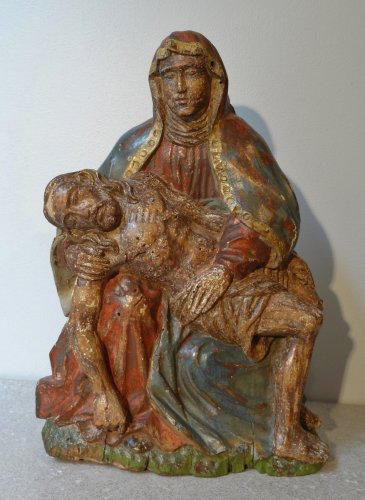A Carved wood and polychrome figure of Pieta, France 17th Century