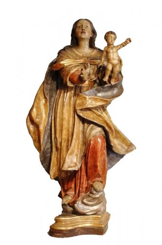Carved And Polychromed linden wood Virgin And Child ,17th century