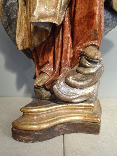 17th century - Carved And Polychromed linden wood Virgin And Child ,17th century