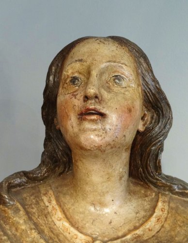 Carved And Polychromed linden wood Virgin And Child ,17th century - Louis XIV