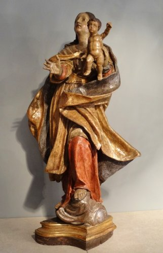 Antiquités - Carved And Polychromed linden wood Virgin And Child ,17th century