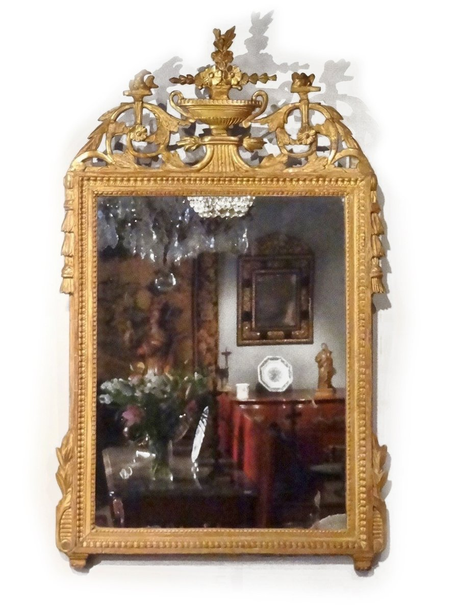 Miroir louis xvi en bois dor xviiie si cle for Miroir xviii