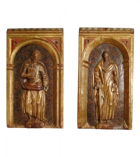 Panels Representing St Pierre And St Paul In Polychrome Wood 17th Century