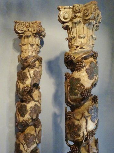 Pair Of Columns Polychrome Wooden 17th Century - Decorative Objects Style Louis XIV
