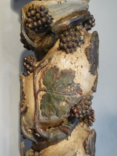 Pair Of Columns Polychrome Wooden 17th Century -