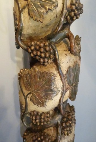 17th century - Pair Of Columns Polychrome Wooden 17th Century