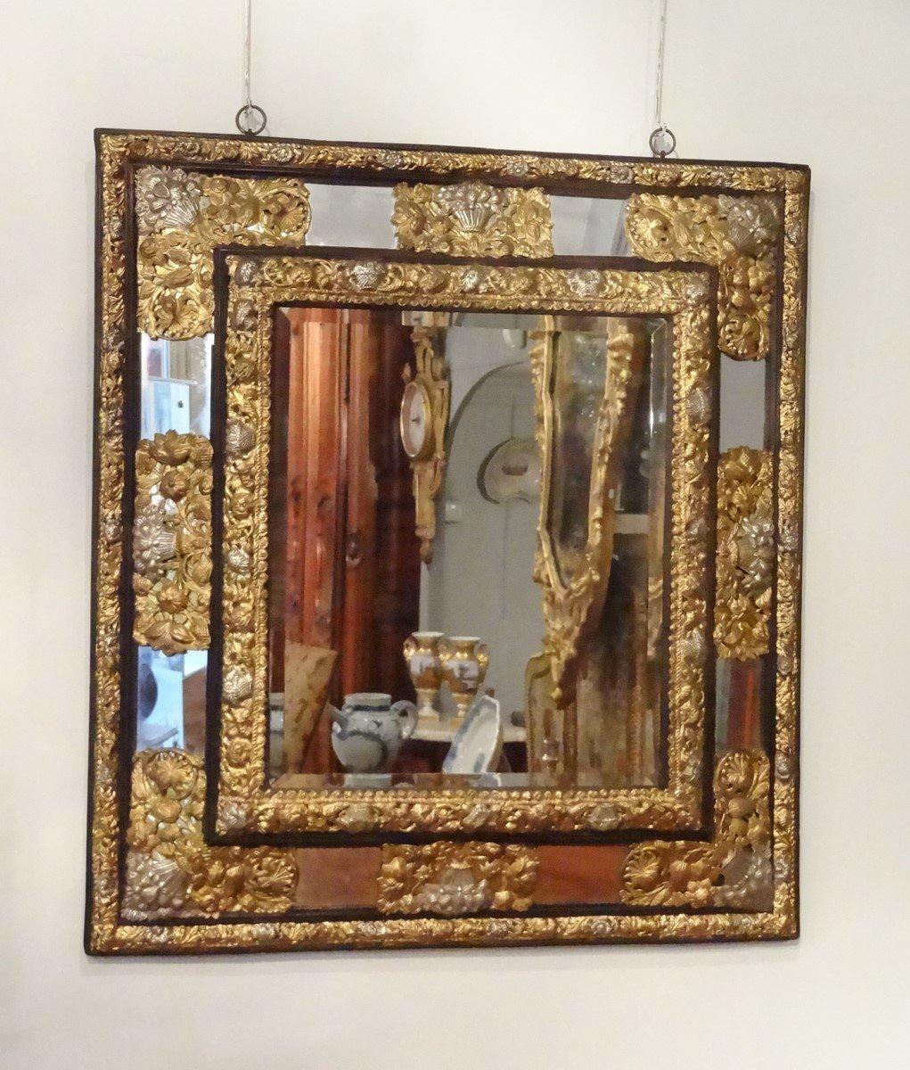 Miroir louis xiii parceloses en cuivre dor et argent d for Miroir louis xiii