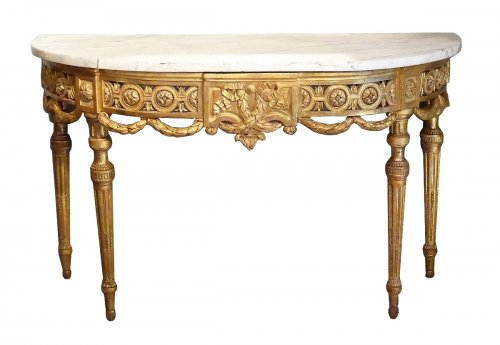 Louis XVI console in gilt wood 18th century