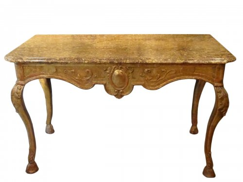 Large Regency-gilded Wooden Game Table, Early 18th Century