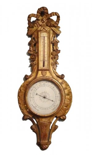 Barometer thermometer Louis XV gilded wood 18th century