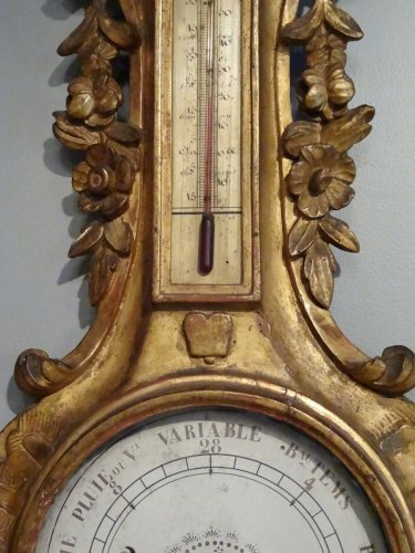 Decorative Objects  - Barometer thermometer Louis XV gilded wood 18th century