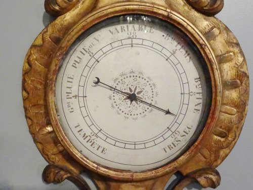 Barometer thermometer Louis XV gilded wood 18th century -